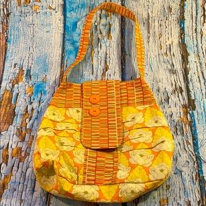 Vintage Handmade Lotus Flower Quilted Hobo Handbag